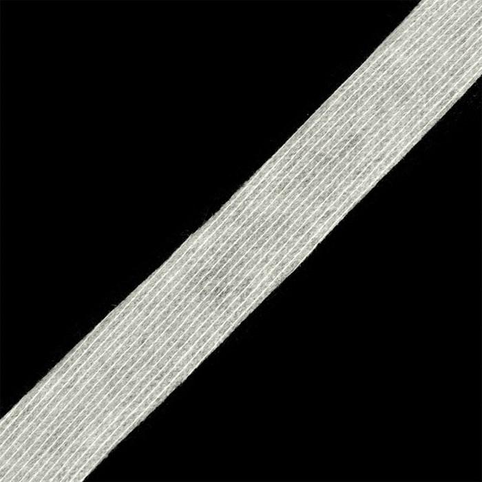 Лента нитепрошивная клеевая по долевой 25мм цв.белый рул.50м - фото 191876