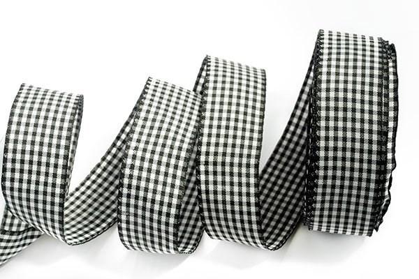 Лента шотландка 30мм арт. С3721Г17  рис 9256  цв. черный/белый уп. 25м - фото 196073
