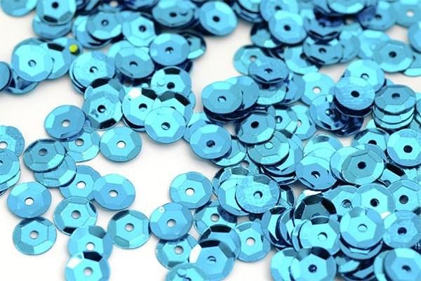 Пайетки россыпью Ideal  арт.ТВY-FLK032  8мм  цв.M2259 голубой уп.50гр - фото 196717