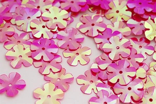 Пайетки россыпью Ideal  арт.ТВY-FLK465  14мм  цв.028 яр.розовый уп.50гр - фото 198405