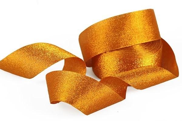 Подарочная лента Парча арт.с3433г17 шир.40мм цв. оранжевый уп.25м - фото 198699