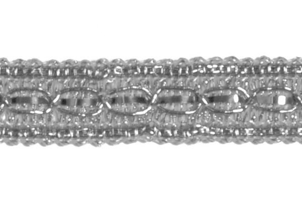 Тесьма отделочная  арт.8024 шир. 13 мм  цв. серебро  уп.18.28м - фото 208294