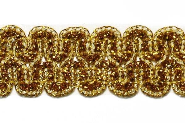 Тесьма отделочная  арт.9727  шир. 25 мм  цв. золото  уп.18,28м - фото 209002