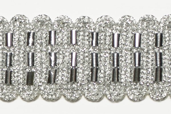 Тесьма отделочная  арт.10309 шир.30 мм  цв.серебро  уп.12,98м - фото 209462