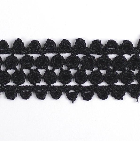 Кружево гипюр арт.TBY-KB-11 шир.25мм цв.черный уп.13.71м - фото 209512