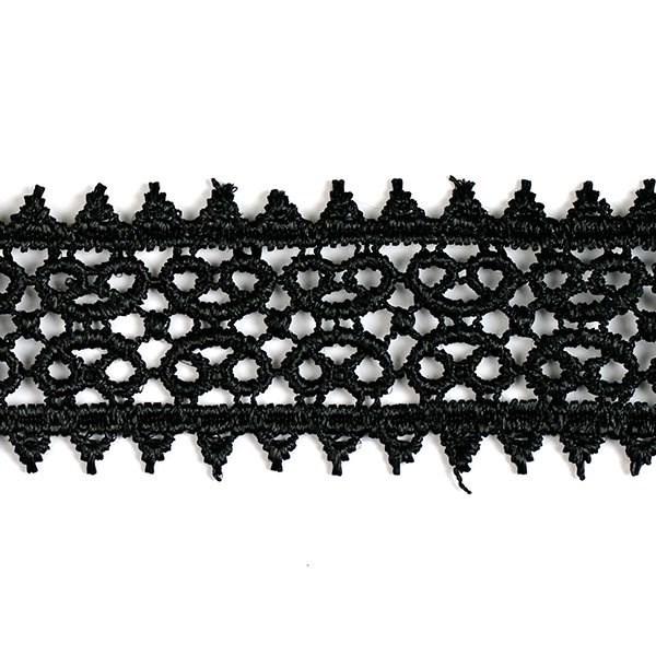 Кружево гипюр арт. КМС-1230 шир.26мм цв.черный уп.13.71м - фото 209787