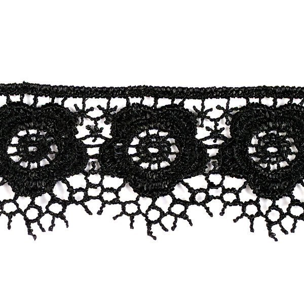 Кружево гипюр арт. КМС-1018 шир.34мм цв.черный уп.13.71м - фото 210432