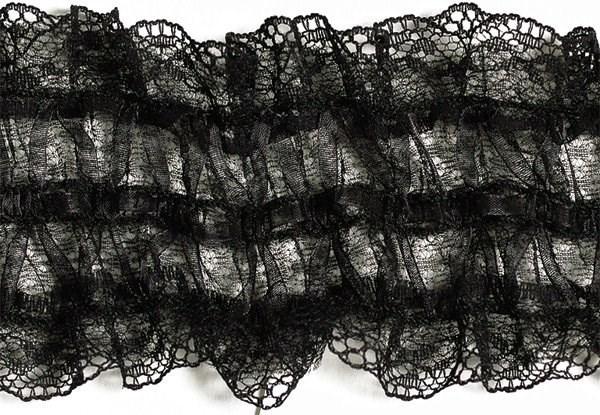 Тесьма  'рюш' арт.TBY CS-18 / 2-стор.  шир.70мм  цв.черный  уп.13.71м - фото 210711