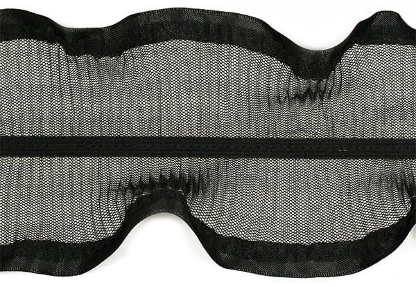 Тесьма  'рюш' арт.TBY CS-10 / 2-стор.  шир.80мм  цв.черный  уп.13.71м - фото 219210