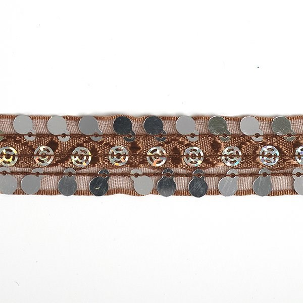 Тесьма с пайетками TBY арт.TH249   шир.20мм  цв.32 коричневый уп.18,28м - фото 221619