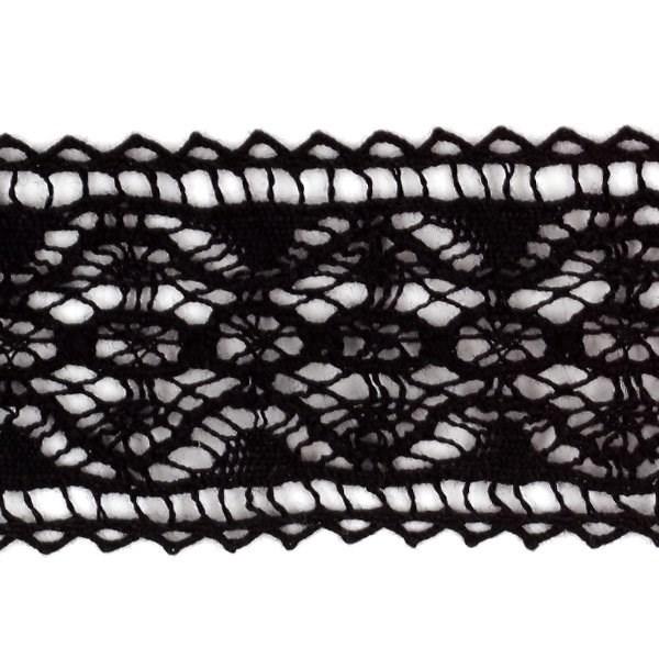 Тесьма вязаная хлопок арт.TBHA.955 шир.28мм цв.черный уп.45,7м - фото 222594