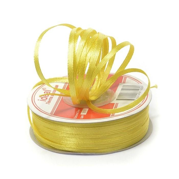 Лента атласная 1/8' (3мм) цв.3014 желтый IDEAL уп.100 м - фото 226044