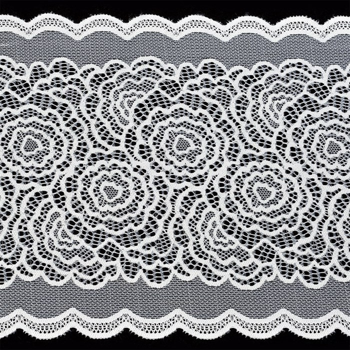 Кружево-стрейч арт.TBY-51030 шир.220мм цв.белый уп.18,3м - фото 229607