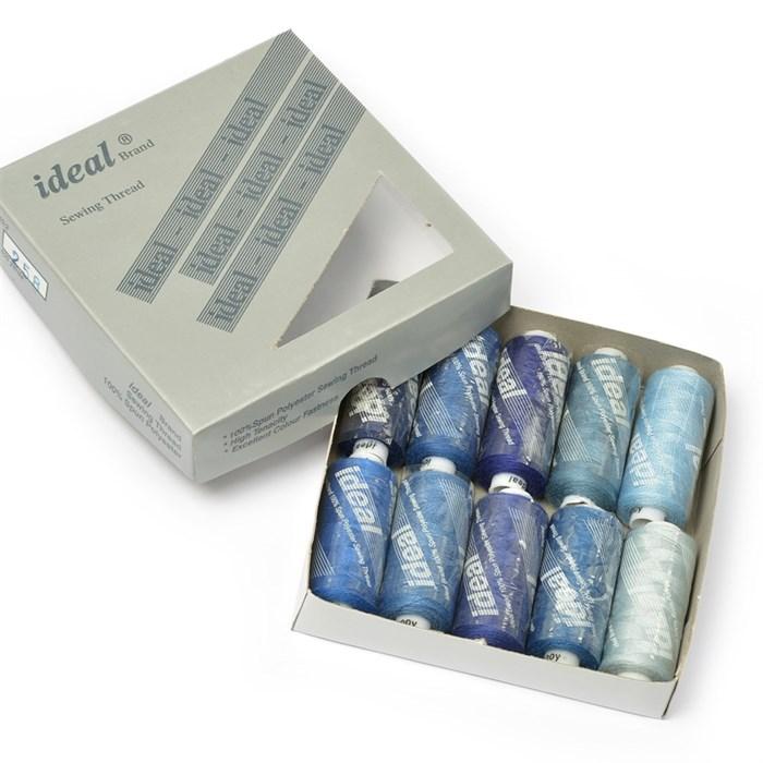Набор бытовых ниток  IDEAL  40/2  , 366м  100% п/э, ассорти (синие оттенки) уп.10шт - фото 230921
