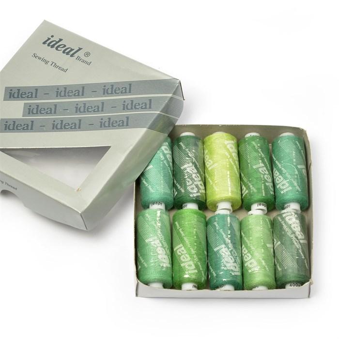 Набор бытовых ниток  IDEAL  40/2  , 366м  100% п/э, ассорти (зеленые оттенки) уп.10шт - фото 231281