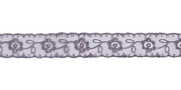 Кружево капрон арт.TBS.0574-1003  22мм  цв.301 св.серый  рул.13,71м - фото 244029