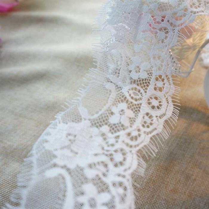 "Кружево ""реснички"" арт.KRK-7828 шир.70мм цв.белый уп.3м - фото 244858"
