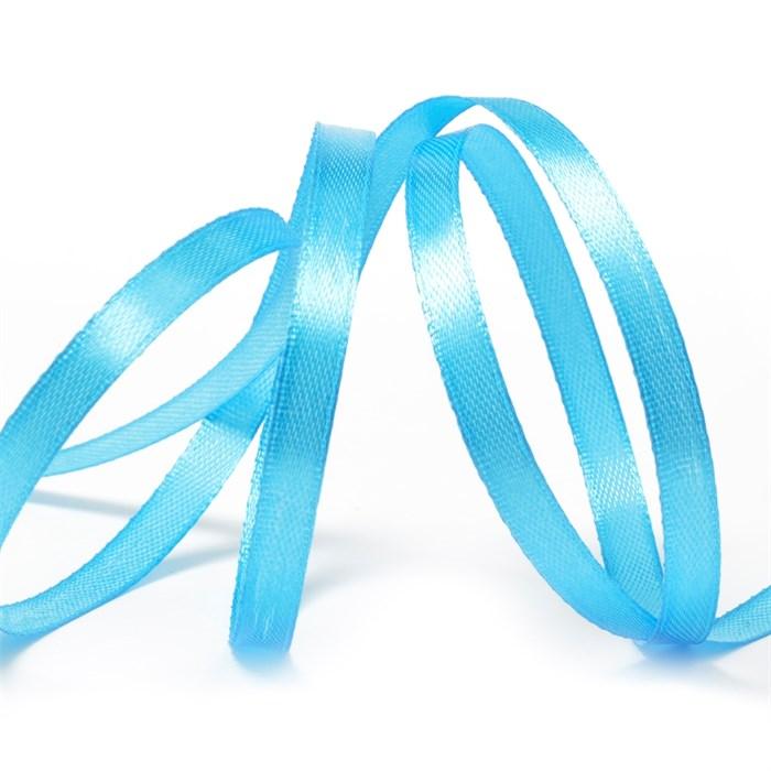 """Лента атласная 1/4"""" (6мм) цв.3157 яр.голубой IDEAL уп.27,4 м - фото 245667"""
