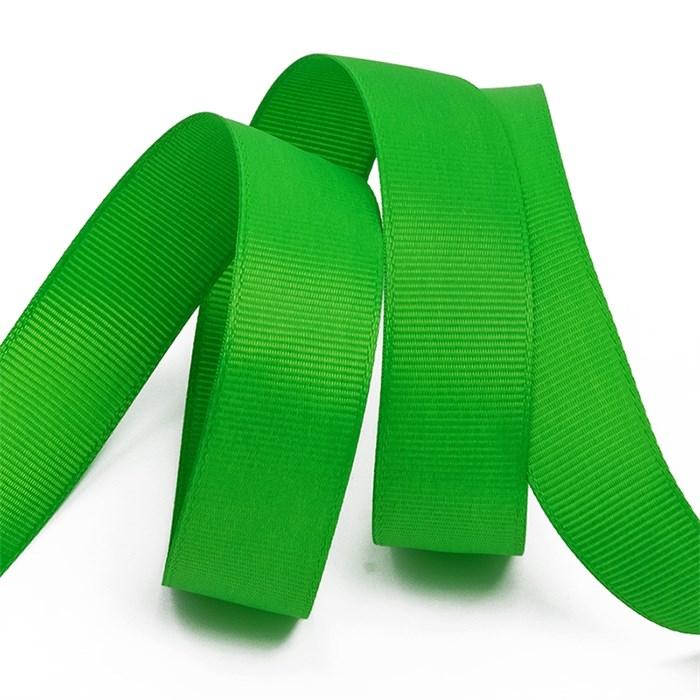 Лента Ideal репсовая в рубчик шир.25мм цв. 579 (119) ярк.зеленый уп.27,42м - фото 245723