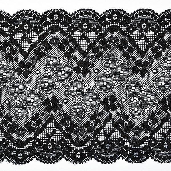 Кружево-стрейч арт.TBY 8010 шир.180мм цв.2 черный уп.18,3м - фото 246059