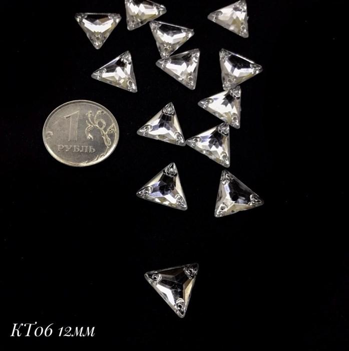 Стразы пришивные акрил арт.SPKT06 12 мм треугольник цв.CRYSTAL уп.50 шт - фото 246161