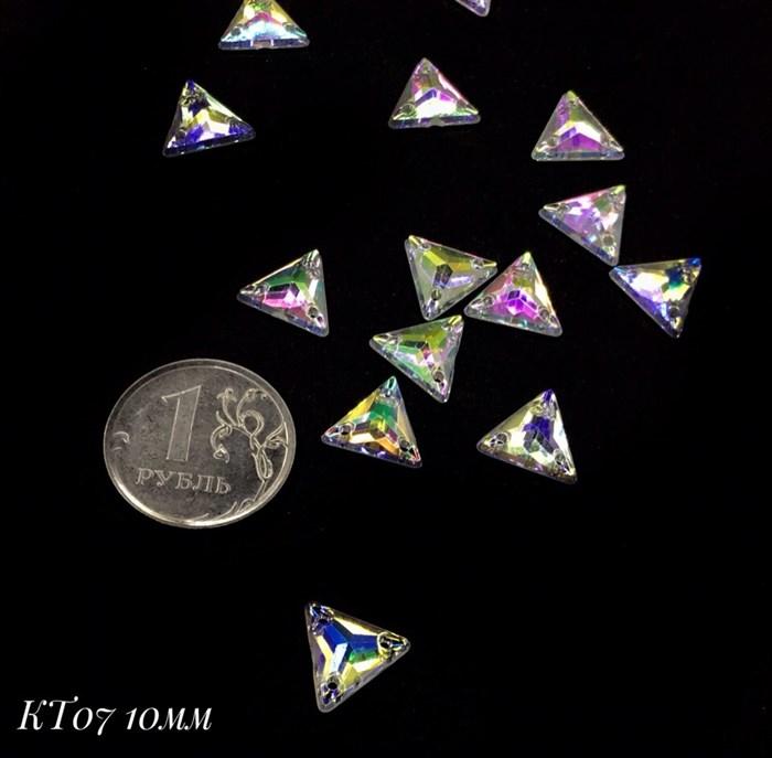Стразы пришивные акрил арт.SPKT07 10 мм треугольник цв.AB уп.50 шт - фото 246169