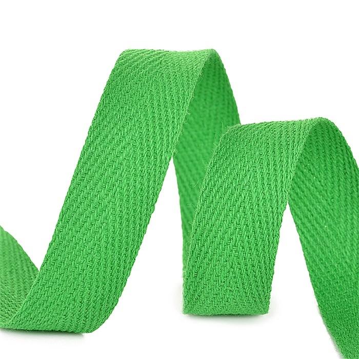 Тесьма киперная 10 мм хлопок 2,5г/см арт.TBY.CT10239 цв.F239 зеленый уп.50м - фото 246519
