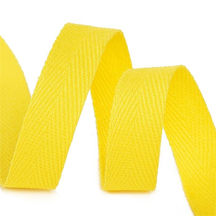 Тесьма киперная 10 мм хлопок 2,5г/см арт.TBY.CT10110 цв.F110 желтый уп.50м - фото 246530