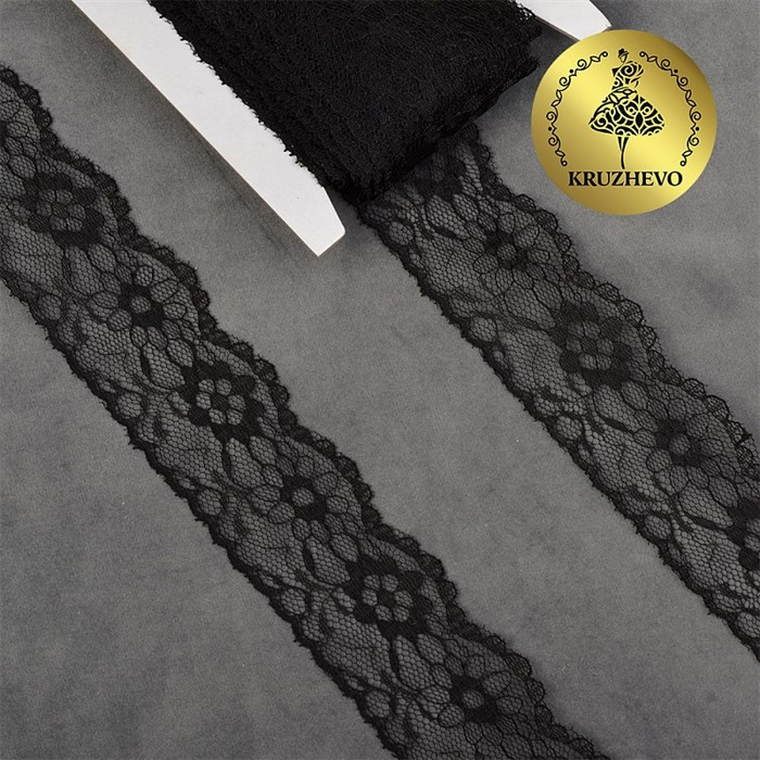 Кружево-трикотаж IDEAL арт.TBY 1664 шир.40мм цв.10 черный, уп.27,4м - фото 246544
