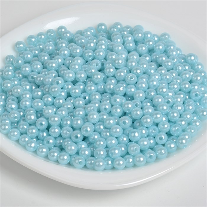 Бусины MAGIC 4 HOBBY круглые перламутр 6мм цв.A26 голубой уп.50г (483шт) - фото 246710