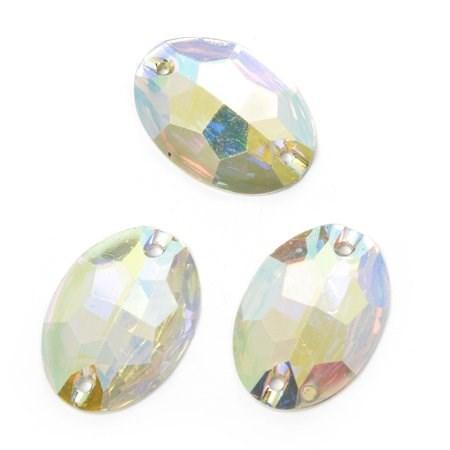 Стразы пришивные акриловые (Resin) Tesoro Crystal арт.TS.ED5.3.10 цв.AB Crystal 18х25 мм уп.5 шт - фото 247167