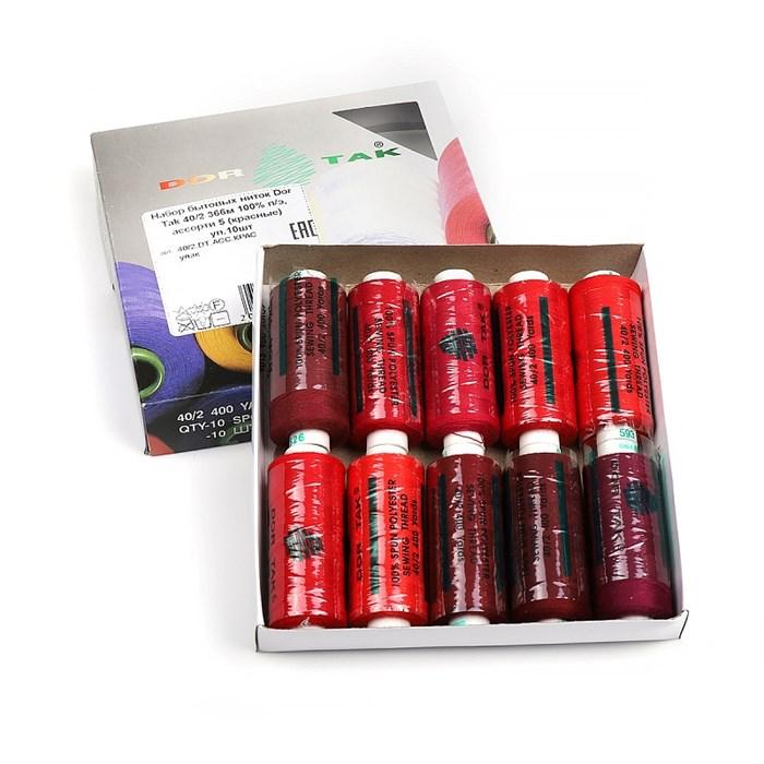 Набор бытовых ниток Dor Tak 40/2 366м 100% п/э, ассорти 5 (красные) уп.10шт - фото 247606