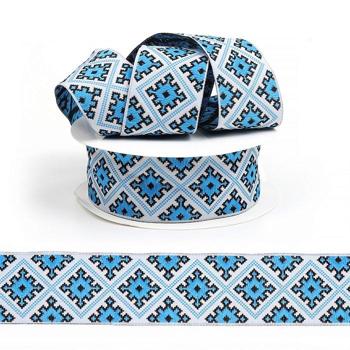 Лента (тесьма) жаккардовая арт.VB.35985B шир. 35мм цв.голубой уп.10м - фото 247608