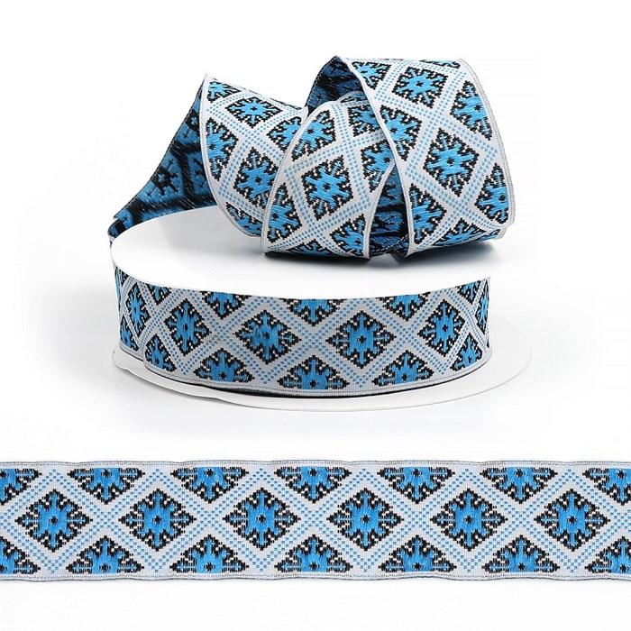 Лента (тесьма) жаккардовая арт.VB.25985B шир. 25мм цв.голубой уп.10м - фото 247610