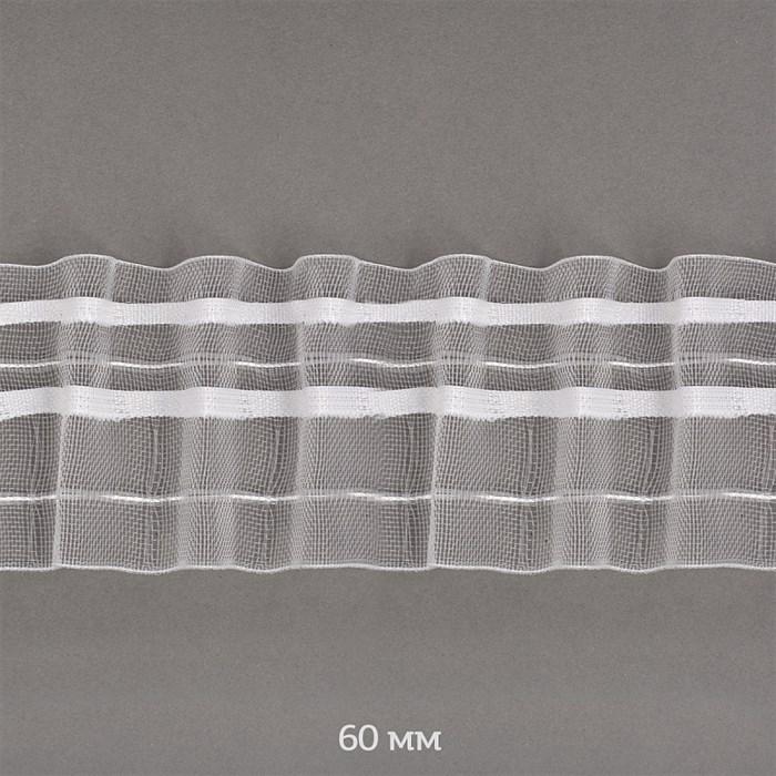 Лента шторная 60мм Caron сборка: универсальная арт.606-0 цв. прозрачный рул. 50м - фото 247620
