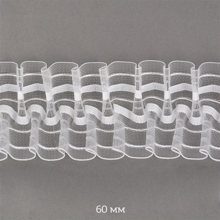 Лента шторная 60мм Caron сборка: буфы арт.605-0 цв. прозрачный рул. 50м - фото 247621