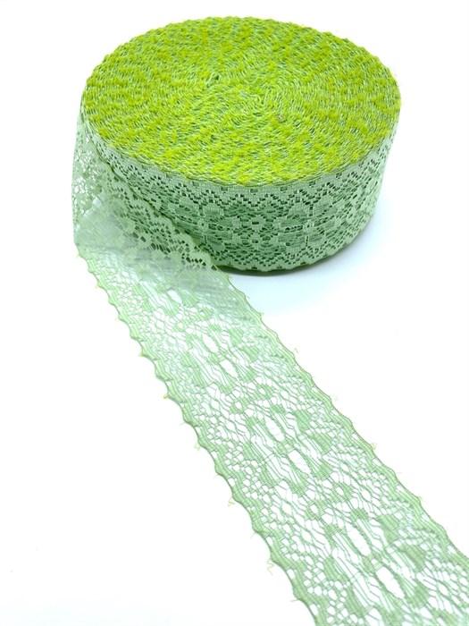 Кружево-трикотаж арт.7с1-г10 шир.50мм цв.светло-зеленый уп.50м - фото 247640