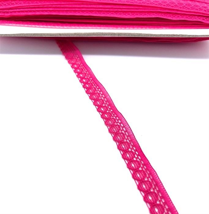 Кружево-трикотаж арт.TBY-K577 шир.10мм цв.6 (142) цв.яр.розовый уп.45,7м - фото 247645
