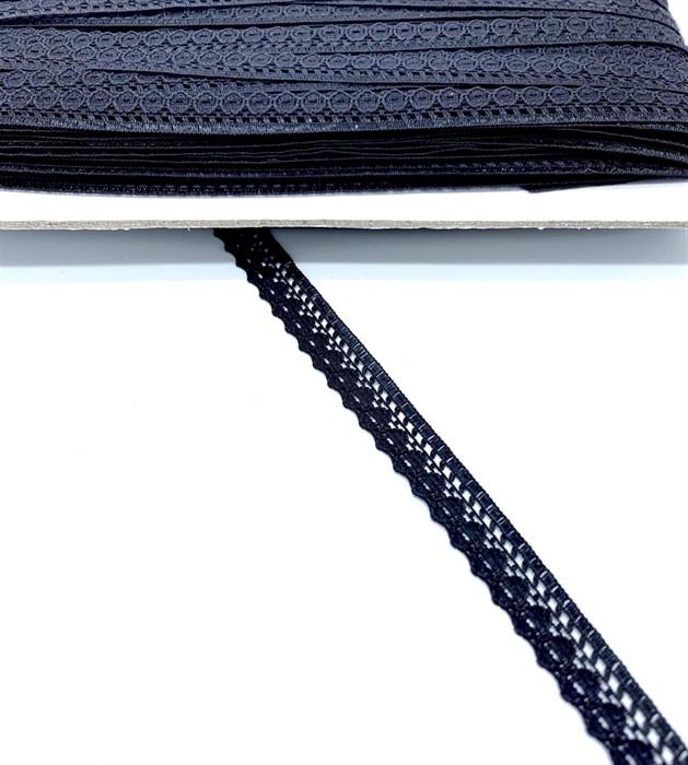 Кружево-трикотаж арт.TBY-K577 шир.10мм цв.черный уп.45,7м - фото 247646