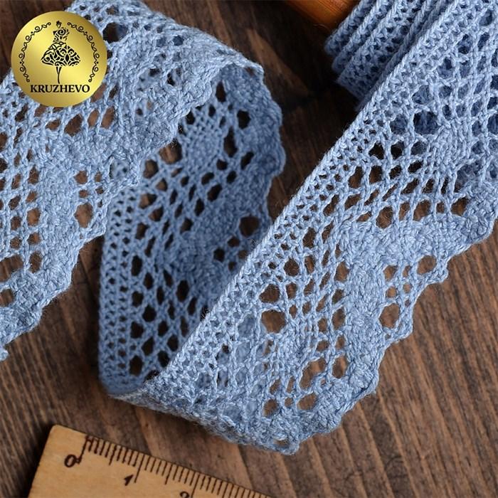 Тесьма вязаная KRUZHEVO 30мм TBY-5234 цв.23 голубой уп.10м - фото 247690