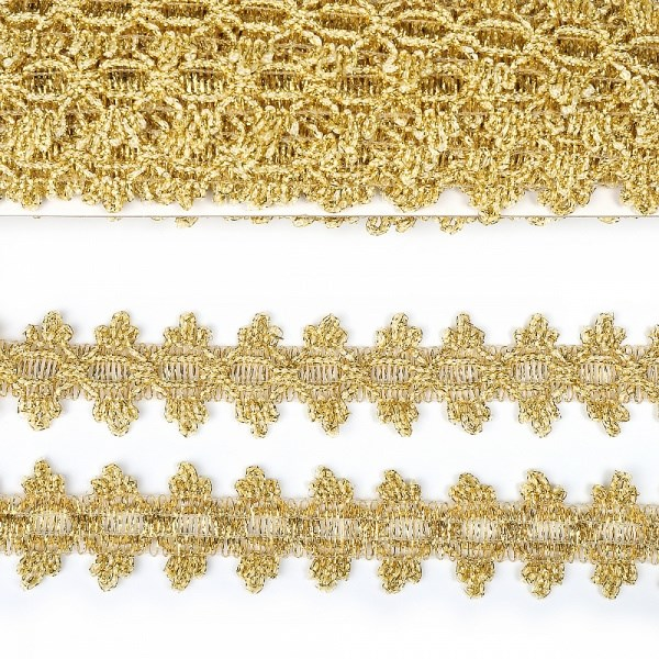 Тесьма отделочная арт.921 шир.30 мм цв.золото уп.11,85м - фото 247883