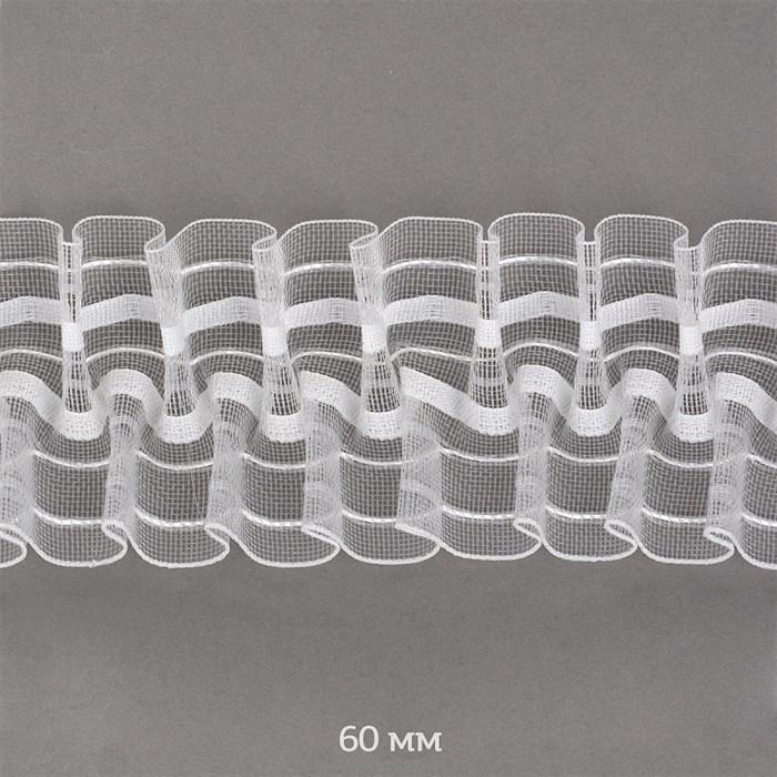 Лента шторная 60мм TBY сборка: буфы арт.605-0 цв. прозрачный уп.10м - фото 247953