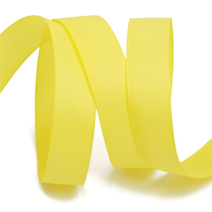 Лента Ideal репсовая в рубчик шир.25мм цв. 640 (021) желтый уп.27,42м - фото 248161