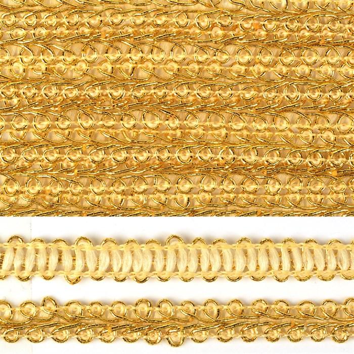 Тесьма TBY Шанель плетеная шир.12мм 0384-0016 цв.золото уп.18,28м - фото 248231