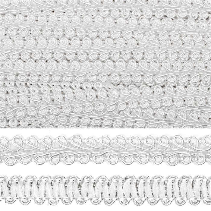 Тесьма TBY Шанель плетеная шир.12мм 0384-0016 цв.F101 белый уп.18,28м - фото 248250
