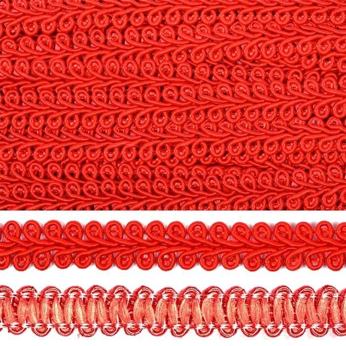 Тесьма TBY Шанель плетеная шир.12мм 0384-0016 цв.F162 (26) красный уп.18,28м - фото 248252