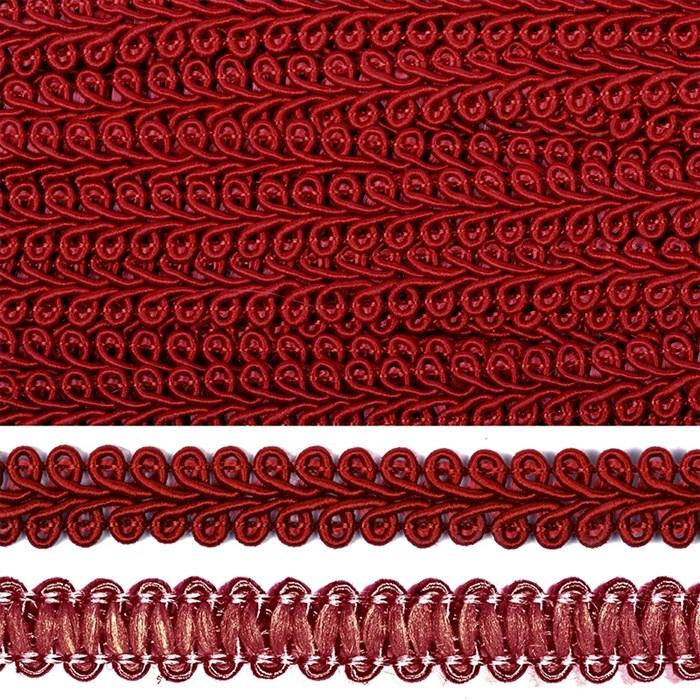 Тесьма TBY Шанель плетеная шир.12мм 0384-0016 цв.F178 (37) бордо уп.18,28м - фото 248253