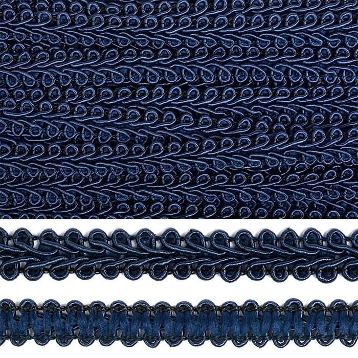 Тесьма TBY Шанель плетеная шир.12мм 0384-0016 цв.F330 т.синий уп.18,28м - фото 248258