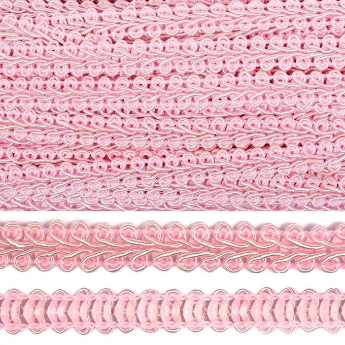 Тесьма TBY Шанель плетеная шир.12мм 0384-0016 цв.S070 грязно-розовый уп.18,28м - фото 248259