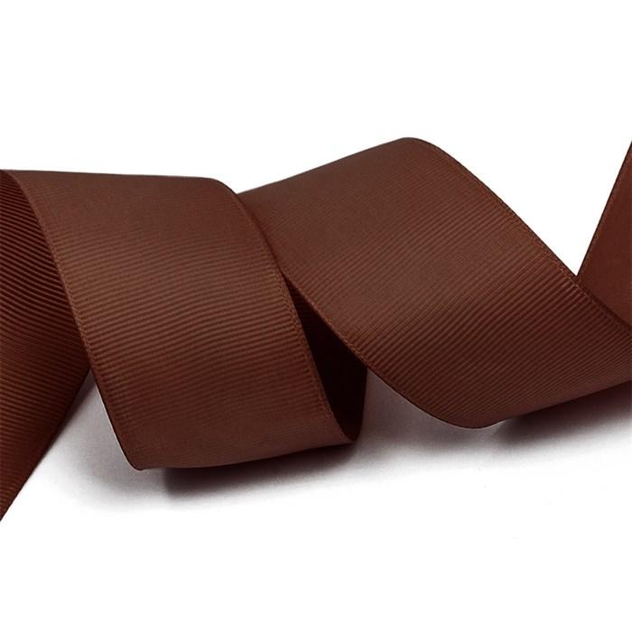 Лента Ideal репсовая в рубчик шир.38мм цв. 855 коричневый уп.27,42м - фото 248836